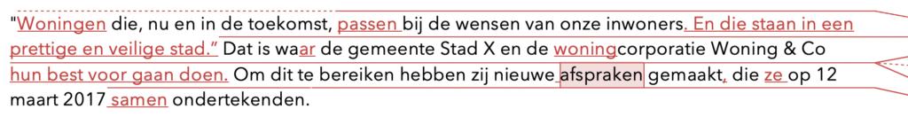 In deze voorbeeldtekst (alinea 1) laat ik zien hoe het werkt: een tekst redigeren en corrigeren in Word.