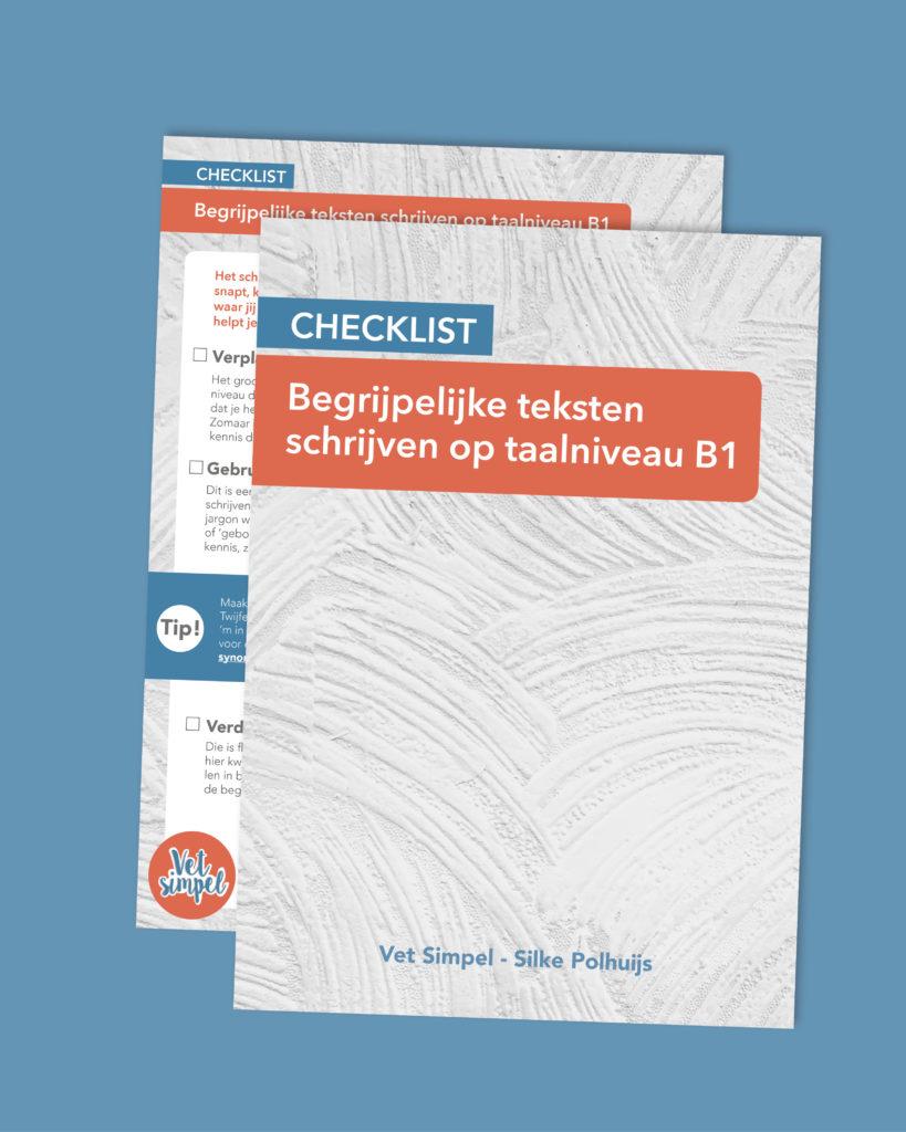 Begrijpelijke teksten op taalniveau B1 schrijven? Dat leer je in deze checklist.